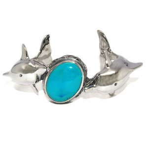 CRAZY PIG DESIGNS(クレイジーピッグ) TWO DOLPHINS BRACELET Stones setting #197|kingsroad
