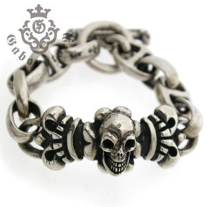Gaboratory(ガボラトリー) Skull on 4heart Id with h.w.o&anchor links all smooth ブレスレット 【予約注文】|kingsroad