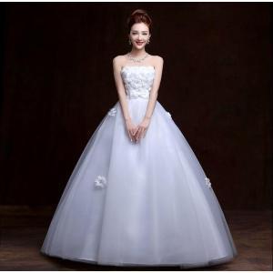ウェディングドレス カラードレス 二次会 花嫁 ロングドレス エンパイア ビスチェドレス 結婚式 発表会 妊婦さんもOK 花嫁ドレス ホワイト&シャンパン 2色|kingyu-jpshop|02