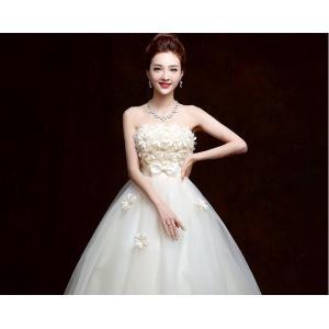 ウェディングドレス カラードレス 二次会 花嫁 ロングドレス エンパイア ビスチェドレス 結婚式 発表会 妊婦さんもOK 花嫁ドレス ホワイト&シャンパン 2色|kingyu-jpshop|04