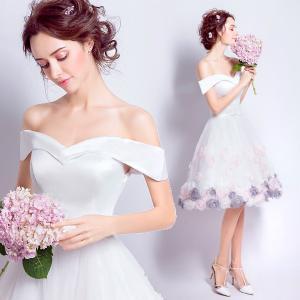 e8a5f1b7a0a30 ミニドレス 二次会 花嫁 ウエディングドレス ミニ丈 白 パーティードレス 結婚式 発表会 ミモレ丈ドレス ショート丈 介添えドレス プリンセス  大きいサイズ