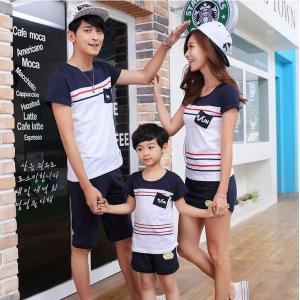 親子服 親子お揃い tシャツ 半袖 ペアルック お揃い ペア 春夏 親子 Tシャツ パンツ パパ ママ 女の子 男の子 親子ペア 服 カップル お揃い服 家族旅行用|kingyu-jpshop