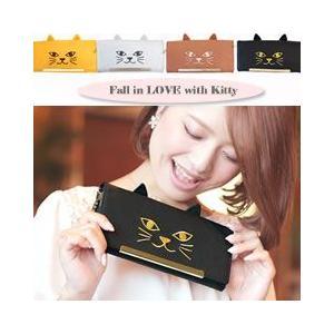 長財布 猫 レディース 二つ折り かぶせ 本革 薄い 人気 小銭入れあり 風水 金運 開運 色 黒 黄色 コインケース かわいい 使いやすい ミュー|kinmokusei