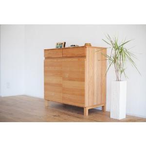 キャビネット/ナチュラル90 キッチン収納 収納 書棚 本|kinomama