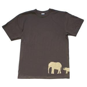 ゆうパケット発送対応商品★アニマルシルエットTシャツ 「象」 半袖/サイズS〜XL 大自然を闊歩する象の姿をプリント kinomi
