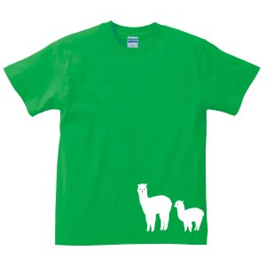 ゆうパケット発送対応商品★アニマルシルエットTシャツ 「アルパカ」 半袖/サイズS〜XL 大人気!モフモフのアルパカをプリント kinomi