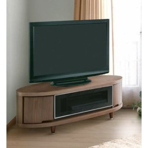 テレビボード テレビ台 ローボード CIR-CLE 幅120cmサイズ 楕円形 リビング 収納 フラップ扉 グレーガラス アジャスター付き|kinositakagu