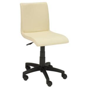 デスクチェア イス 椅子 背もたれ 合成皮革 PVC ポリエステル キャスター ガス圧 EDC-4131 アイボリー色 kinositakagu