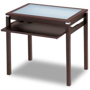 ブラウンパソコンデスク ワークデスク RP-D7390 コンパクト 天板 ガラス キーボード台|kinositakagu