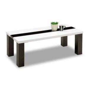 センターテーブル リビングテーブル ローテーブル VOICE【ボイス】 幅105cmサイズ リビング ホワイト ブラウン ツートン シンプル UV 塗装 艶|kinositakagu