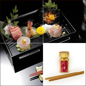 食品用金箔「純金の華 細目(こまかめ)/0.5g・竹箸(小)付」|kinpakuya