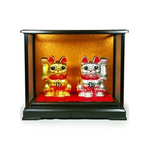 金箔・銀箔貼 招き猫置物「まねき猫(金銀ペア/4号)」|kinpakuya