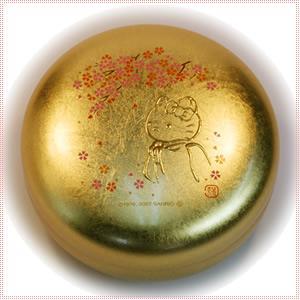 【海外販売NG】 金沢箔貼 はろうきてぃ「丸小物入れ(桜)」|kinpakuya