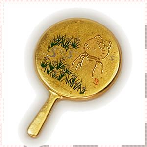 【海外販売NG】 金沢箔貼 はろうきてぃ「ミニ手鏡(カキツバタ)」|kinpakuya