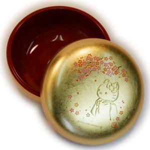 【海外販売NG】 金沢箔貼 はろうきてぃ「丸小物入れ(桜)」|kinpakuya|02
