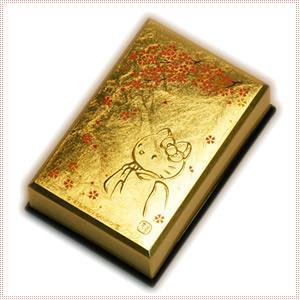 【海外販売NG】 金沢箔貼 はろうきてぃ「カードケース(桜)」|kinpakuya