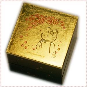 【海外販売NG】 金沢箔貼 はろうきてぃ「二段小物入れ(桜)」|kinpakuya