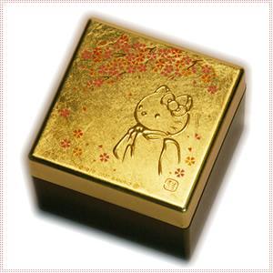【海外販売NG】 金沢箔貼 はろうきてぃ「宝石箱(桜)」|kinpakuya