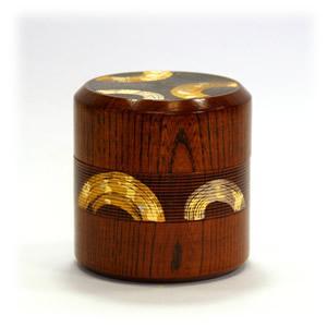 欅 千筋茶筒[金箔]刷毛目B|kinpakuya