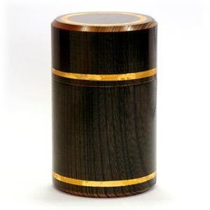 欅 黒象嵌茶筒「ロクロ線(大)」|kinpakuya