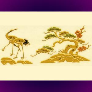 蒔絵シール「山/鶴(2)」|kinpakuya