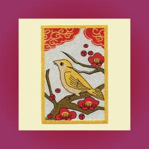うつし蒔絵「花札/梅に鶯(うぐいす)」|kinpakuya