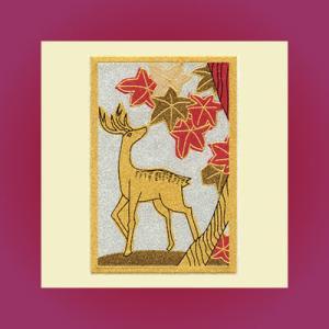うつし蒔絵「花札/紅葉に鹿」|kinpakuya