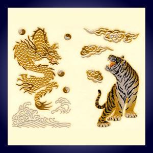 蒔絵シール「龍VS虎」|kinpakuya