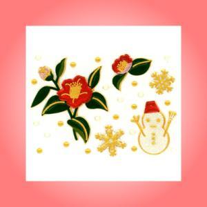 蒔絵シール「椿と雪だるま」|kinpakuya