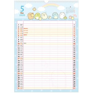 San-X すみっコぐらし「カレンダー2020/壁かけカレンダー(家族)(CD33301)」|kinpakuya|02