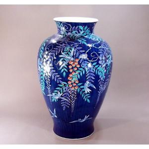 有田焼 色鍋島様式藤燕絵特大花瓶|陶芸作家 藤井錦彩 作