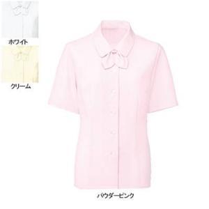 事務服 制服 ヌーヴォ FB7088 ブラウス/リボン付(半袖) 23号・パウダーピンク7|kinsyou-webshop