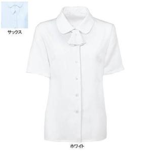 事務服 制服 ヌーヴォ FB7091 ブラウス/リボン2つ付(半袖) 13号・ホワイト1|kinsyou-webshop