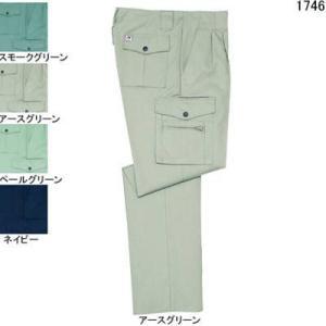 作業服 ズボン 作業着 自重堂 1746 製品制電ストレッチツータックカーゴパンツ W96・アースグリーン039|kinsyou-webshop