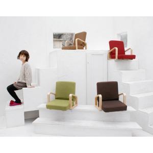 【送料無料】ナチュラルな木製肘掛つき座椅子「楽」 グリーン レッド ブラウンから選べます 折りたたみできてコンパクト リラックスできて腰痛対策にも。 kinta