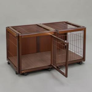 犬 ケージ 犬 ゲージ 木製 小型犬 ケージ 小型犬 サークル 室内用 キャスター付き 屋根付き「ペットケージ FR 60 S メッシュA」|kintaro-w