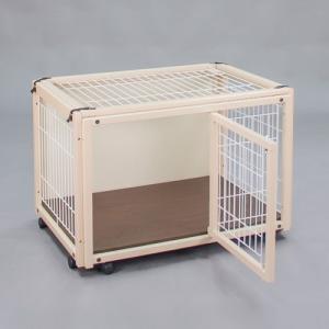犬 ケージ 犬 ゲージ 木製 小型犬 ケージ 小型犬 サークル 室内用 キャスター付き 屋根付き 「ペットケージ FR 60 XS メッシュA」|kintaro-w