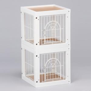 [ キャット ケージ マンション 2部屋セット] キャットケージ 猫ケージ 木製 室内用 多頭飼いの画像