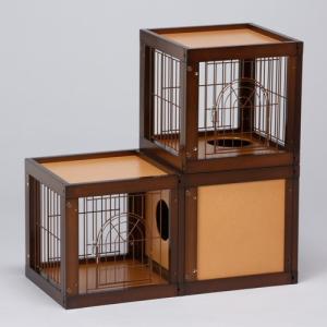 [ キャット ケージ マンション 3部屋セット] キャットケージ 猫ケージ 木製 室内用 多頭飼いの画像