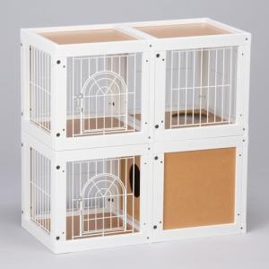 [ キャット ケージ マンション 4部屋セット] キャットケージ 猫ケージ 木製 室内用 多頭飼いの画像