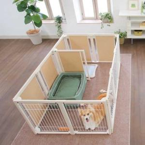 木製 サークル 多頭飼い ペットサークル 大型犬 サークル「サークル プラス F80XLp メッシュ」|kintaro-w