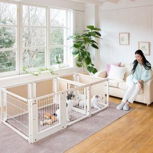 ペットサークル 木製 サークル 多頭飼い 小型犬用 「サークル ルーム F60Lp メッシュ」|kintaro-w