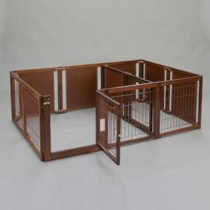ペットサークル 木製 サークル 多頭飼い 小型犬用 「サークル ルーム F60XLp メッシュ」|kintaro-w