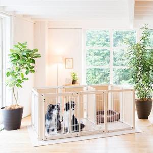 木製 サークル 多頭飼い ペットサークル 大型犬 サークル「サークル プラス FS80XLp メッシュ」「新商品」|kintaro-w