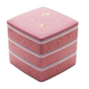 重箱 お重箱 食器 おしゃれ お正月 シール付 6.5 胴張三段重 雅桜 宇野千代 ピンク|kintouen