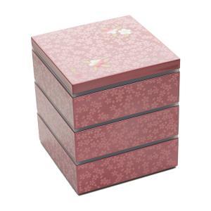 重箱 お重箱 食器 おしゃれ お正月 シール付 5.0 大和三段重 雅桜 宇野千代 ピンク|kintouen
