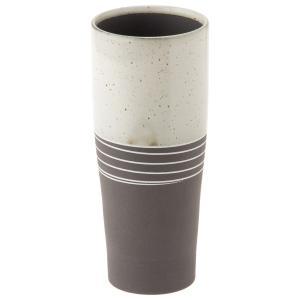 タンブラー 和食器 おしゃれ ノッポビール 白 内側素焼き 泡立つコップ 360ml 日本製 美濃焼|kintouen