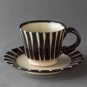 ティーカップ カップ&ソーサー 陶器 黒化粧十草Sサイズ コーヒーカップ ソーサー モダン 食器 おしゃれ 美濃焼 日本製 kintouen