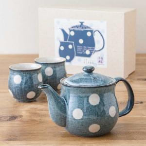 ティーセット グランブルー水玉 茶器揃え ポット ゆのみ おしゃれ 陶器 食器セット 美濃焼 日本製 専用箱入り 和食器 プレゼント ラッピング対応|kintouen