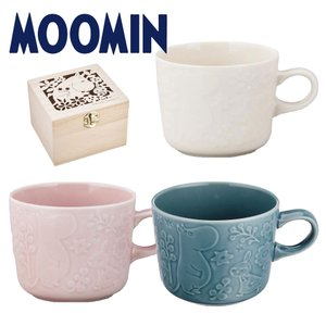 ムーミン 木箱入マグカップ 300ml クリーム ピンク ビリジアン おしゃれ 女性 誕生日 結婚祝い プレゼント 日本製 kintouen
